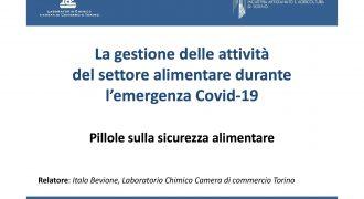 La gestione delle attività del settore alimentare durante l'emergenza Covid 19