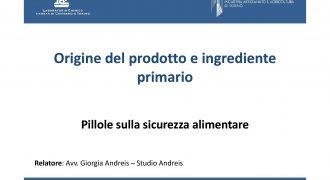 Origine del prodotto e ingrediente primario